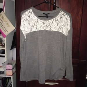 Grey long sleeve with white lace